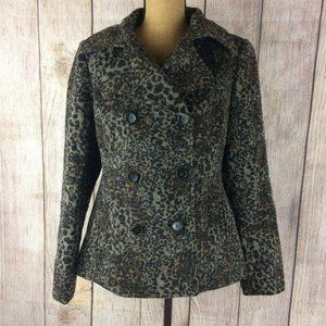 Moda International Leopard Wool Blend Peacoat Sz 8